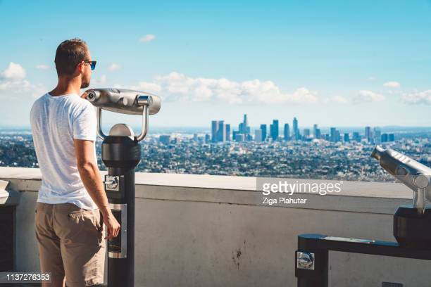 la downtown from griffith observatory - griffith park stock pictures, royalty-free photos & images
