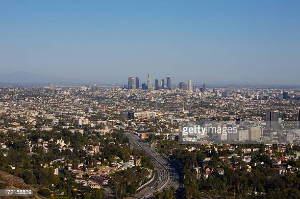 la downtown from hollywood hills - los angeles mountains stock pictures, royalty-free photos & images