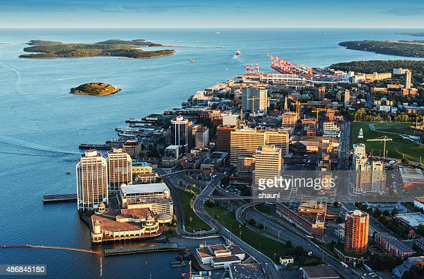 downtown halifax aerial view - atlantic ocean stock pictures, royalty-free photos & images