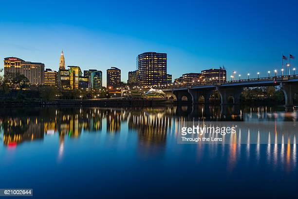 downtown hartford during dusk - hartford connecticut stock pictures, royalty-free photos & images