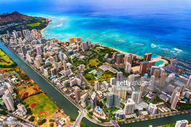 downtown honolulu hawaii aerial - waikiki stock pictures, royalty-free photos & images