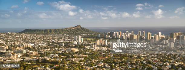 downtown honolulu hawaii and waikiki cityscape panorama - diamond head stock pictures, royalty-free photos & images