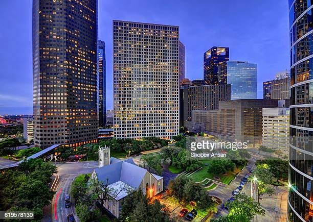 Downtown Houston at dusk, Texas
