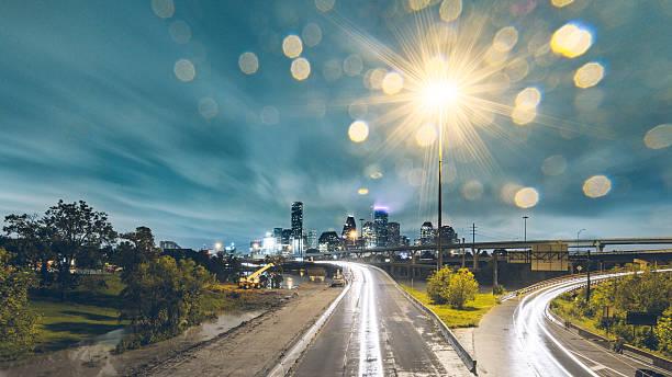 Downtown Houston Flooding At Night Wall Art