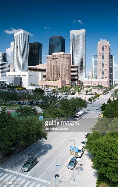 downtown houston from toyota center - toyota center houston stock pictures, royalty-free photos & images