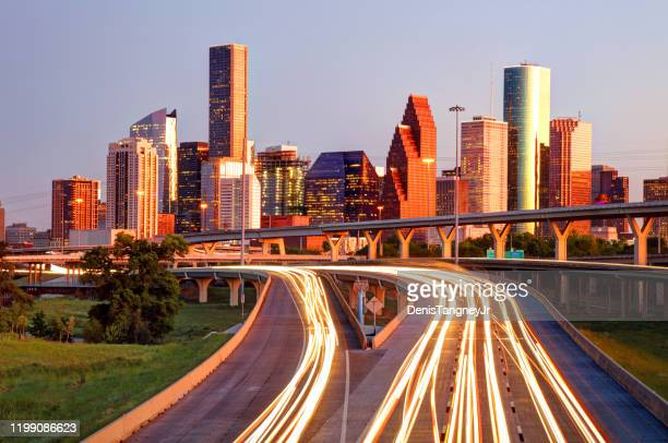 downtown houston, texas skyline - houston stock pictures, royalty-free photos & images