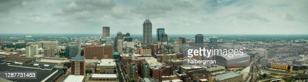 downtown indiana - aerial panorama - indianapolis stock pictures, royalty-free photos & images