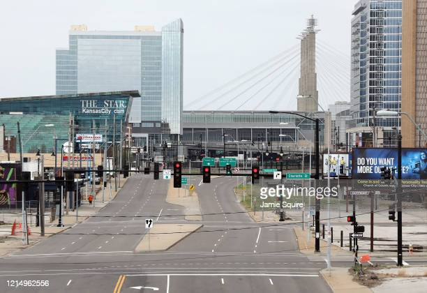 Downtown is shown virtually deserted on March 26, 2020 in Kansas City, Kansas. Across the country, most nonessential places of business have been...