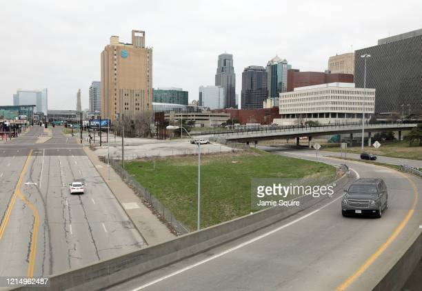 Downtown is virtually deserted on March 26, 2020 in Kansas City, Kansas. Across the country, most nonessential places of business have been shut down...