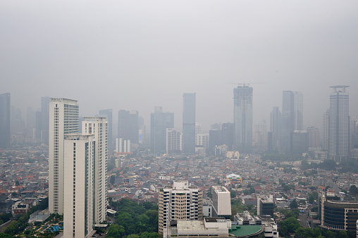 Downtown Jakarta city scape in heavy pollution - gettyimageskorea
