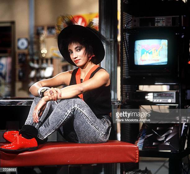 Downtown Julie Brown on the set in MTV's New York Studio in 1988. Photo by Frank Micelotta/ImageDirect.