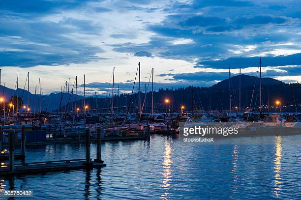 Downtown Kelowna Harbour at dusk