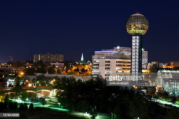 downtown knoxville tennessee skyline night - knoxville tennessee stock pictures, royalty-free photos & images