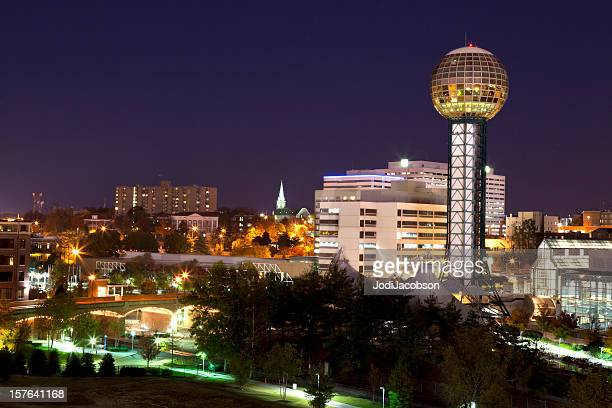 downtown knoxville tn skyline night - tennessee stock pictures, royalty-free photos & images