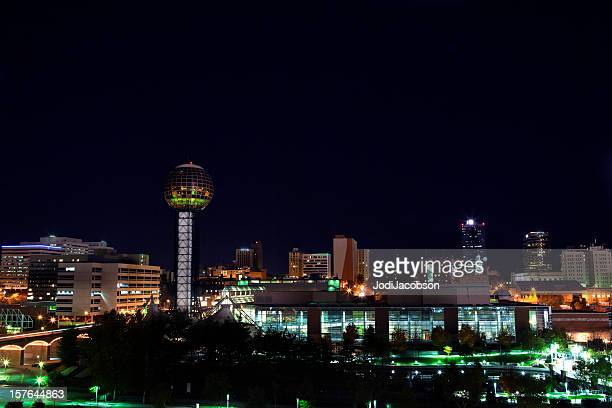 downtown knoxville tn skyline night - knoxville tennessee stock pictures, royalty-free photos & images