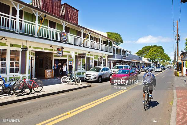 downtown lahaina, popular toruist beach town in maui hawaii - lahaina stock pictures, royalty-free photos & images
