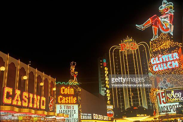 """downtown las vegas at night, nv"" - fremont street las vegas stock pictures, royalty-free photos & images"