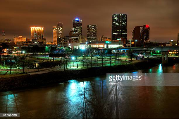 downtown little rock, arkansas, at night - arkansas stock photos and pictures