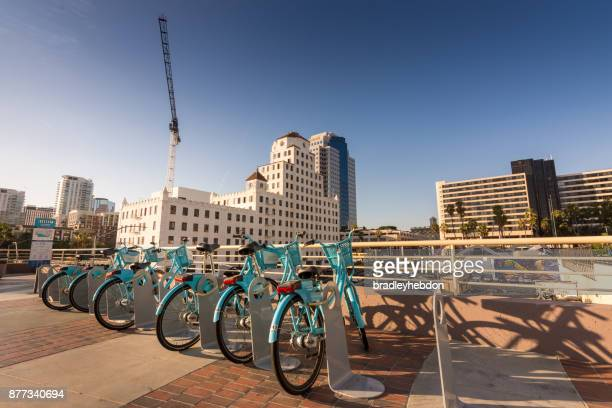 downtown long beach, ca bike share station - long beach california stock photos and pictures