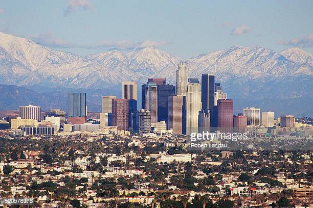 Downtown Los Angeles and San Gabriel Mountains