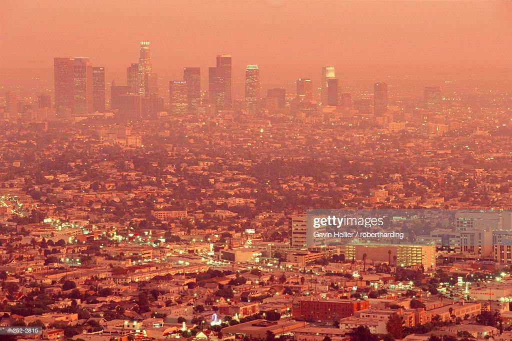 Downtown Los Angeles at dusk, California, USA : Foto de stock