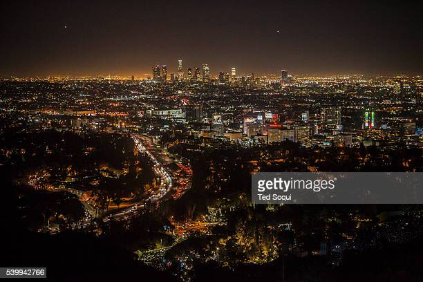 Downtown Los Angeles at night seen from the Mulholland Drive overlook The view is famous for it's iconic view of downtown LA and Hollywood