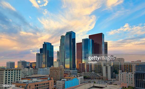 Centro de la ciudad de Los Ángeles en el crepúsculo