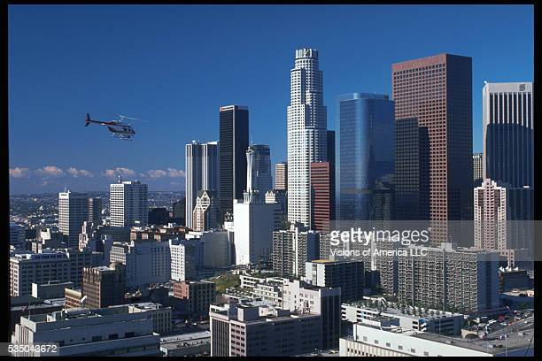 Downtown Los Angeles on a clear day The tallest building is the 73story First Interstate World Center also known as the Library Tower designed by IM...