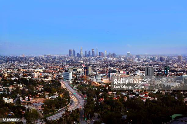 Image has been digitally retouched Downtown Los Angeles photographed from the Hollywood Hills in Los Angeles California on March 03 2017