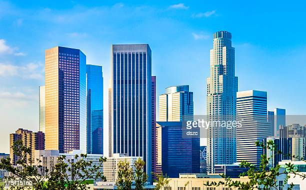 Downtown Los Angeles skyline cityscape financial district bank buildings