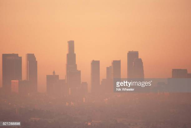 Downtown Los Angeles Skyline Shrouded in Smog