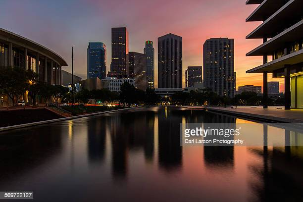 downtown los angeles sunset - reflection pool stock pictures, royalty-free photos & images