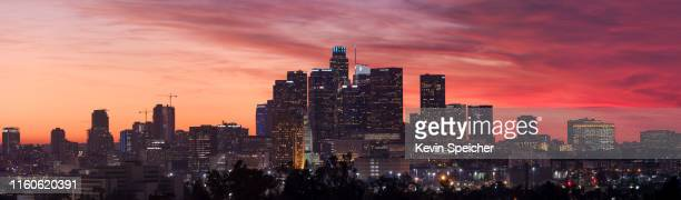 downtown los angeles sunset skyline panorama - city of los angeles stock pictures, royalty-free photos & images