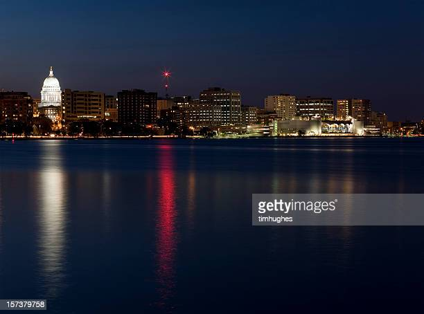 downtown madison skyline at twilight - madison wisconsin stock pictures, royalty-free photos & images