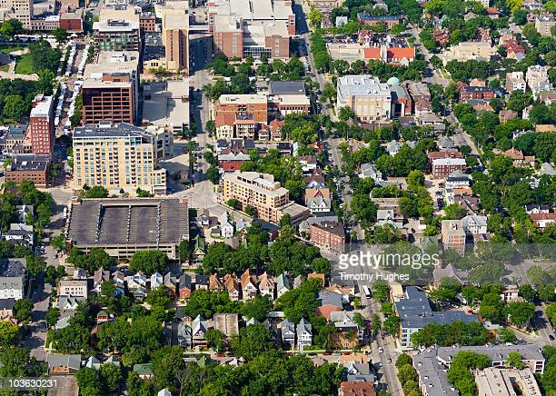downtown madison, wi. aerial photograph - madison wisconsin stock pictures, royalty-free photos & images