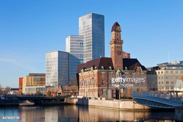 downtown malmo with old and modern buildings - malmo stock pictures, royalty-free photos & images