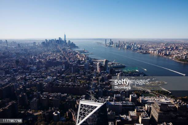 Downtown Manhattan and the Hudson River are seen from the Edge observation deck at 30 Hudson Yards during a media preview event in New York US on...