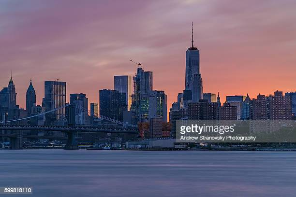 Downtown Manhattan and the Manhattan and Brooklyn Bridges at Sunset