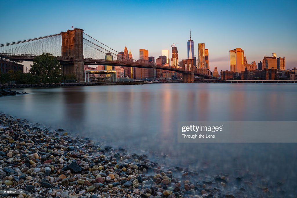 Downtown Manhattan during Sunrise : Stock Photo