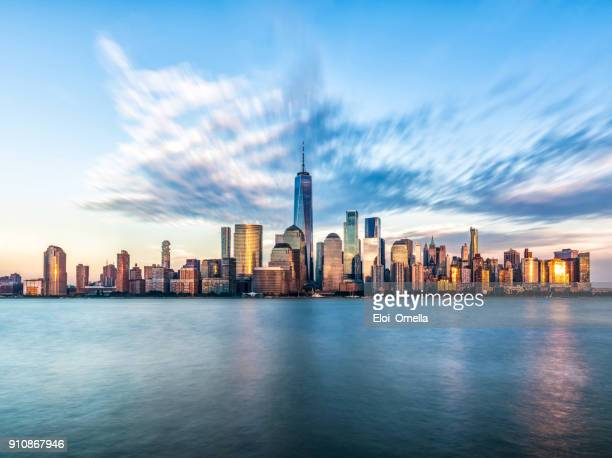 downtown manhattan new york jersey city golden hour sunset - new york skyline stock photos and pictures