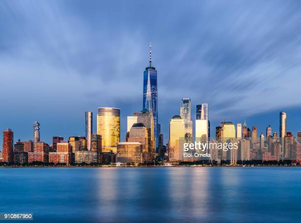Downtown manhattan new york jersey city golden hour sunset