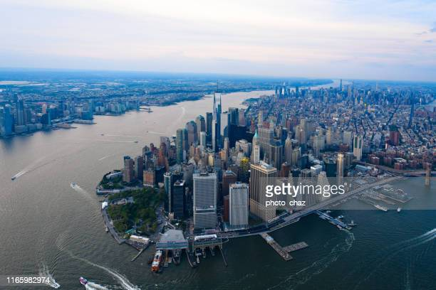 downtown manhattan nyc sky view - river hudson stock pictures, royalty-free photos & images