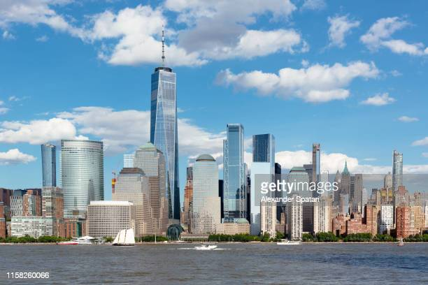 downtown manhattan skyscrapers and hudson river on a sunny day, new york, usa - river hudson stock pictures, royalty-free photos & images