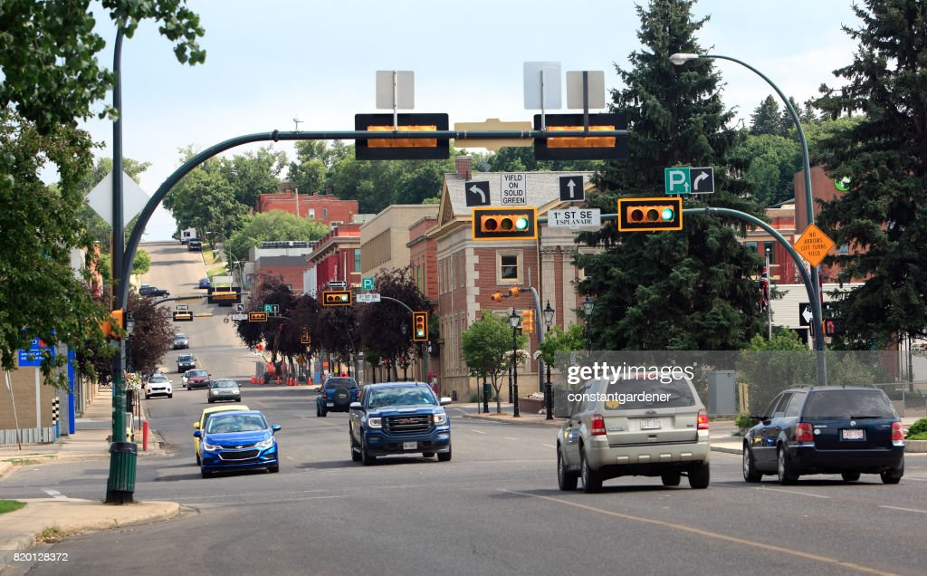 9344522edc4 Downtown Medicine Hat With Traffic And Lights Stock Photo - Getty Images