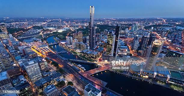 Downtown Melbourne at dusk