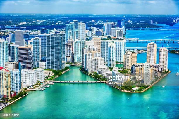 Die Innenstadt von Miami und die Biscayne Bay-Antenne
