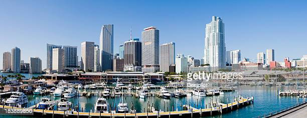 Downtown Miami City Harbor and Skyline in Florida USA