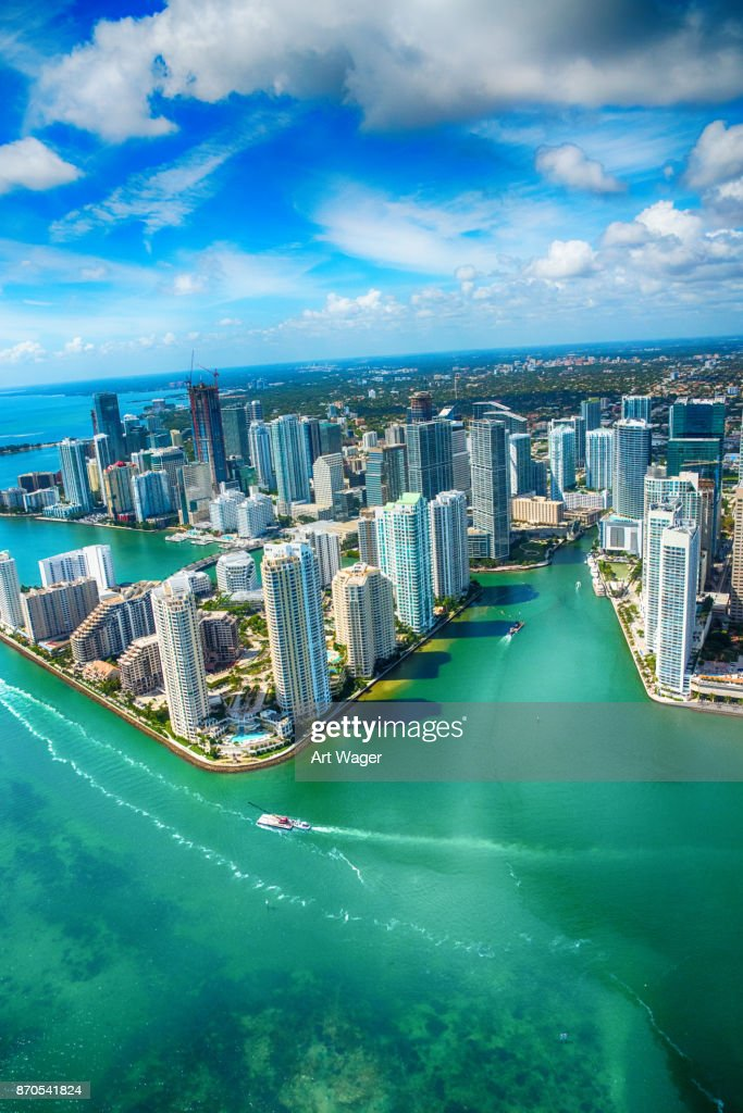 Downtown Miami From Over Biscayne Bay : Stock Photo