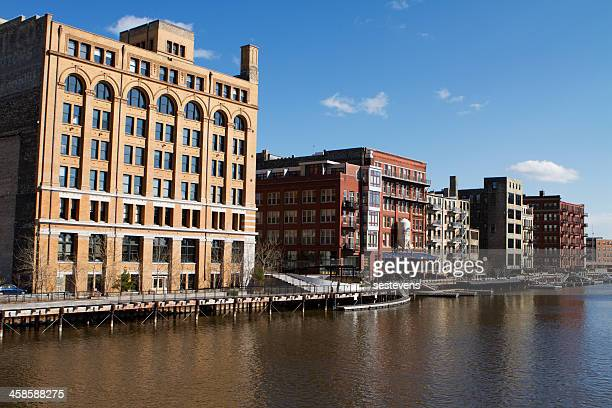 downtown milwaukee riverwalk - milwaukee wisconsin stock photos and pictures