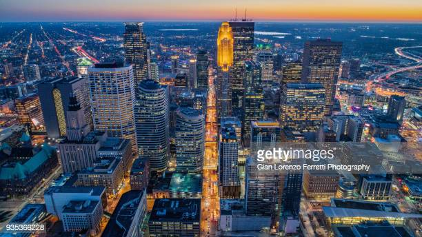 Downtown Minneapolis - Aerial View at Dusk